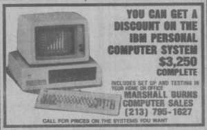 Marshall Burns Computer Sales ad for first PC clone, LA Times, 1982